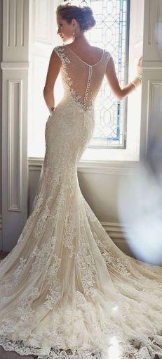 Vestidos de novia con encaje en la espalda. x